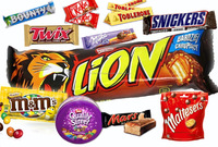 Kitkat, Bounty, Twix, Mars, Snickers, Milka, Toblerone, Quality Street, Maltesers, Lion Bars, M&M