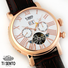 Korean Ti Sento Brand Dress Fashion Watch for Men Automatic Waterproof Genuine Leather Band Made in Korea TS50021RGW (Date)