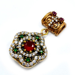 6 mm Ruby Emerald With CZ 100% 925 Sterling Silver Bronze Marvelous Turkish Jewelry Pendant