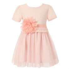 Richie House Little Big Girls' Dress with Tulle Skirt and Flower Accent