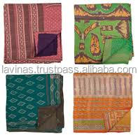 Indian Reversible Vintage Kantha Quilt Sari Throw Bedspread Wholesaler From India