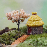 Kawaii Mini Thatched House Miniatures Craft Landscape Cottage Terrarium Fairy Garden Moss Resin Decorations For Home Garden DIY