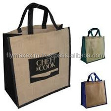 Handled Style and Jute Material Matching trims Jute shopping tote bag
