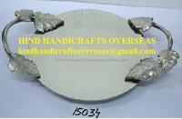 Aluminium Round Serving Tray With Leaf Design Handle 36x27