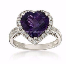 Amethyst and CZ Heart Ring in Sterling Silver/New arrival wedding ring/wholesale fashionable gemsotne ring
