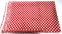 RTHCF-23 White On Red Polka Dots Leaf 100% Export Quality fabric Wooden block printed cotton Traditional manufacturer Suppliers