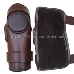 100% Real Brown Leather 2 Strap Polo & Ridding Knee Guards Leather and Padded