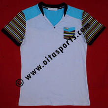 white / sky blue 95% cotton 5% spnadex v-neck t-shirt with striper fabric sleeves and pocket on left side
