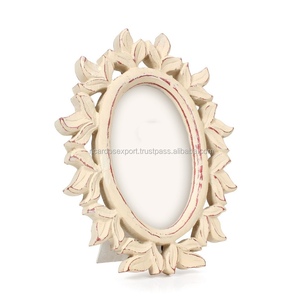 Decorative Wooden Photo Picture Frame With Floral Portrait
