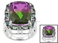 Watermelon Quartz Rings, Genuine Alexandrite Stones Jewellery, Sterling Silver Rings Jewelry, BEH106