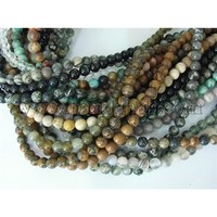 Round Gemstone Beads Mix, Assorted Colors, about 6mm in diameter, hole: 0.8mm; about 64pcs/strand, 16""