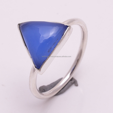 925 Solid Sterling Silver Blue Chalcedony Gemstone Triangle Cabochon Handmade Ring