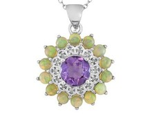 Brazilian Amethyst, Ethiopian Opal And Diamond Accent Silver Pendant Kids Silver Jewelry, Silver Engraved Jewelry