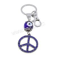 Evil Eye Key Chain Zinc Alloy with Lampwork & Iron Peace Logo plated evil eye & with rhinestone nickel lead & cadmium free 35x1