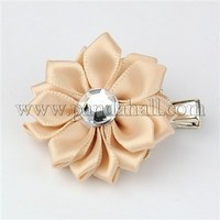 Handmade Ribbon Flower Hair Clips, with Iron Flat Alligator Hair Clips and Acrylic Rhinestone Cabochons, Wheat PHAR-JH00025-01