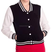 Custom women varsity Jacket hot selling design / Black & White Varsity Jackets for Women