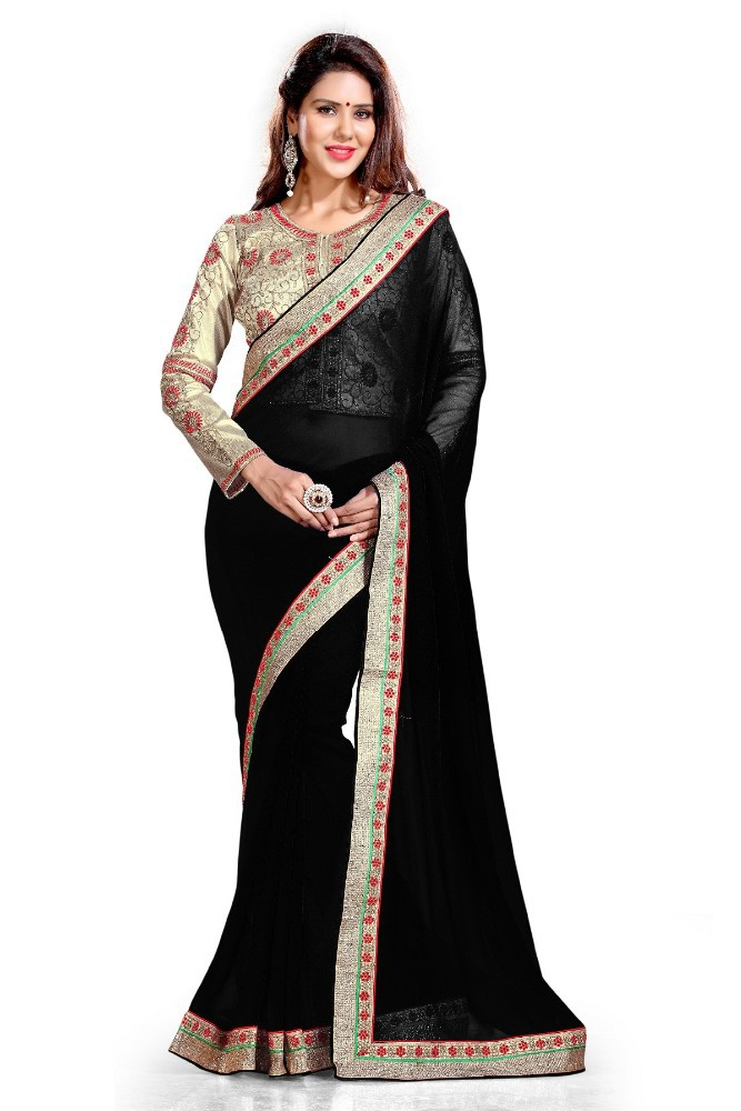 With Jacket Style Blouse Fabric Black Embroidered Traditional Indian Wedding Designer Style ...