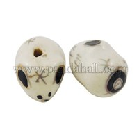 Handmade Ornamental with Gold Porcelain Beads, Chinese Zodiac, Rat, White, about 16mm long, 12mm long, 11.5mm thick CFA269Y-1