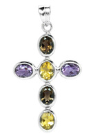 925 Sterling Silver Smoky & Citrine & Amethyst Classic Cross NEW WHOLESALE ITEM Jewellery
