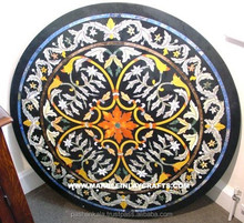 Round Marble Inlay Table, Black Table Inlay Tops