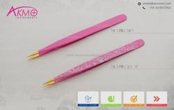 Pink Tweezer for Eyelash Extension with Golden Tips/ 14cm Fine Pointed Tweezers