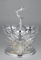 Caviar Holder sturgeon decoration 3 bowls + motherpearl spoon
