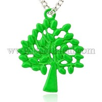 Spray Painted Alloy Pendants, Tree of Life, Lime, 29x23x1.5mm, Hole: 2mm