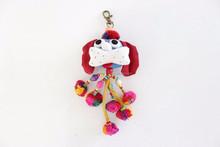 Handmade Cotton Little Dog Keychain Fair Trade from Thailand - Blue