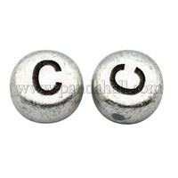 Silver Plating Acrylic Beads, Alphabet Style, Flat Round, Letter.C, 7x3.5mm, Hole: 1mm, about 3600pcs/500g
