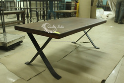 Black Color Wooden Top With Metallic Base Dining Table