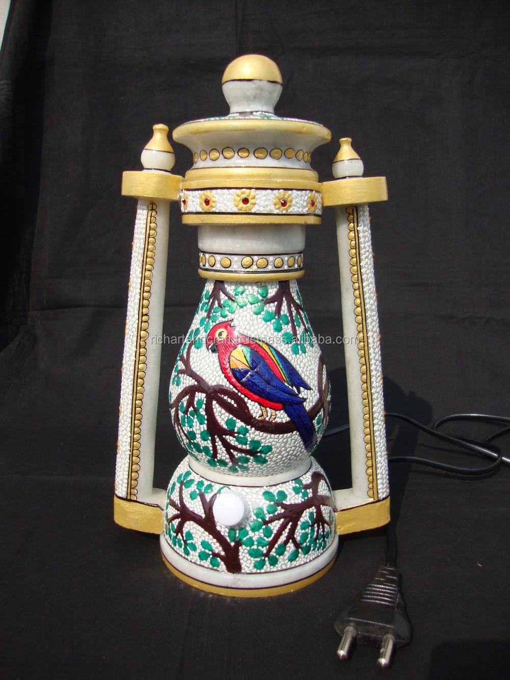 Artes E Ofícios de Pedra de Mármore Natural Rico Lâmpada Noite Presente Decor Home presente de natal Feito À Mão lanterna