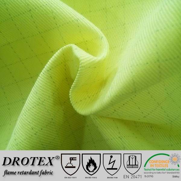 EN 20471 Durable multinorm CVC 270gsm 2/2 Twill hi vis yellow fire retardant oil water resistant fabric