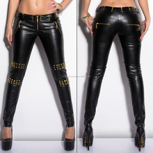 Vego 2015 New Hot Women's Studded Faux Leather Pant - XS / S / M / L / XL