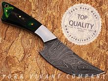 Hunting Knife, Custom Handmade Damascus Steel Fixed Blade Knife YV-526A Buffalo Horn + Pakka Wood + Stainless Steel Handle