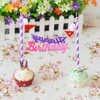 1 Set Birthday Party Cake Toppers Decoration Events Cupcake Toothpicks Food Picks Kids Children Favor Love Showers