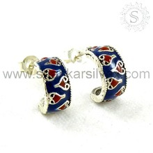 Sterling Silver Jewelry Manufacturer, Beautiful Inlay Earrings, 925 Silver Gemstone Jewelry ERCB1515-2