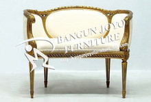 French Style Antique wooden living room arm chairs with hand made gold leaf carving