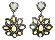 New Design Fashion 14k Gold Opal Gemstone Earring, 92.5 Sterling Silver Handmade Design Jewelry