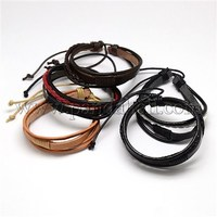 Trendy Unisex Casual Style Multi-Strand Wax and Leather Cord Bracelets, Mixed Color, 64mm