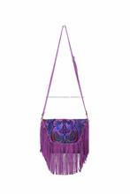 Tassel Cross-Body Leather Fair Trade Bag Thailand - Purple