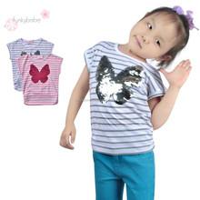 Popular Stylish Sequins Butterfly Stripe Fashion Shirt Latest Shirt Hot Shirt