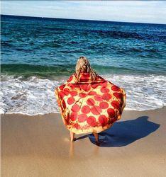 Giant Pizza Towel Round Beach Towel