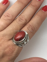 falak gems silver ring with sponge coral stone rings