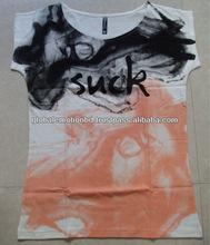 2015 fashion latest design ladies combed cotton silk screen printed super qualtiy t shirt