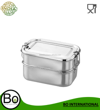 Stainless Steel Double Layered Lunch Box 170x120x80 mm