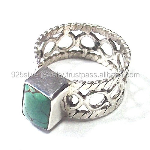 Natural Turquoise Stone Rings 925 Solid Sterling Silver Jewelry Gemstone Ring