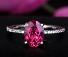 14k white gold ring made with pink tourmaline & diamonds