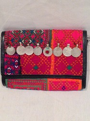 Cotton Old Vintage Embroidered Banjara Gypsy Coin Clutch Bag Hand Bag Leather Bag