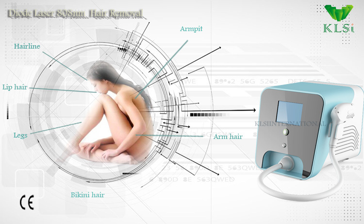 Portable mini Strong Power!!! 808nm Diode Laser Hair Removal Machine With CE Approved / Real Advanced Laser Home Hair Removal