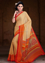 Cream color with orange & darkyellow printed pallu Red color blouse Appealing Printed Designer Sarees